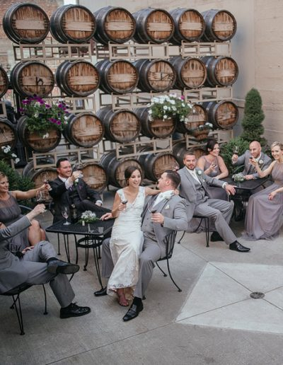 Bride and Groom in Courtyard by Matt Shumate Photography